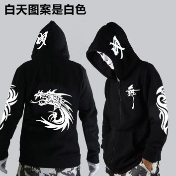 Unisex Noctilucent long-sleeved jacket clothes loose coat and students fashion clothing dance night shining clothing ghost dance