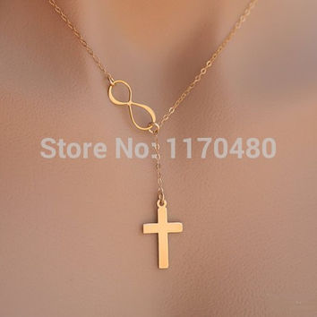 New Simple Sideways Infinity Cross  Infinite Karma Necklace Lariat Y Necklace Elegant Popular Pretty Jewelry Cross Necklace-N109