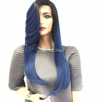 """Blue Ombre' Swiss Lace Front Wig 18"""""""