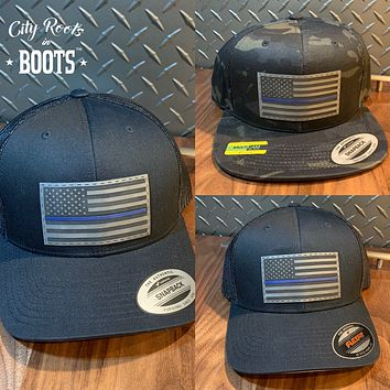 """Blue Line"" Leather Patch Hats"
