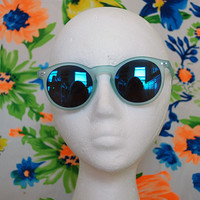Frosted Unisex Round Keyhole Sunglasses Revo Mirror Blue Glasses - Vance