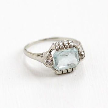 Antique 18k White Gold Aquamarine and Diamond Ring - Art Deco 1920s 1930s Size 6.5 Blue Faceted Gemstone Filigree Fine Jewelry