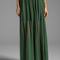 Alice + Olivia Adme Long Godet Maxi Skirt in Pine from REVOLVEclothing.com