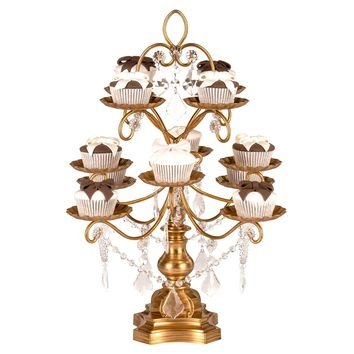 12-Piece Vintage Crystal-Draped Cupcake Stand (Gold)