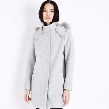 Pale Grey Faux Fur Trim Hooded Duffle Coat | New Look