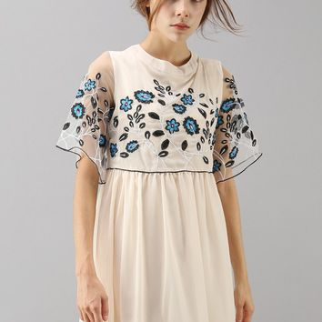 Dream of Myosotis Embroidered Chiffon Dress in Cream
