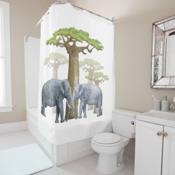 Meet Me Under the Baobab Trees Shower Curtain
