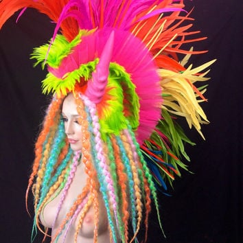 READY TO SHIP Psychadelic neon uv reactive rave goth club kid feather headdress headpiece tribal fantasy