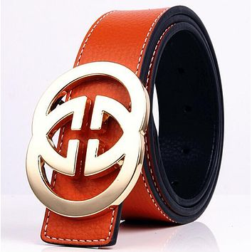 GUCCI 2 G Woman Fashion Smooth Buckle Belt Leather Belt-7