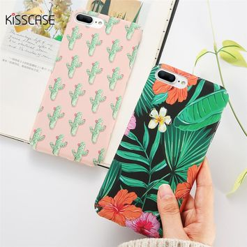 KISSCASE Case For iPhone 8 8 Plus 7 7 Plus Cover Flower Fashion Hard PC Back Coque For iPhone 6 6s Plus X se 5s 5 Cases Fundas