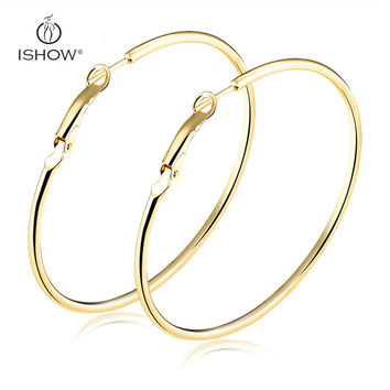 Plated Silver Gold Hoop Earrings Big Circle Earrings 20-70 mm Lightweight Simple Hoops