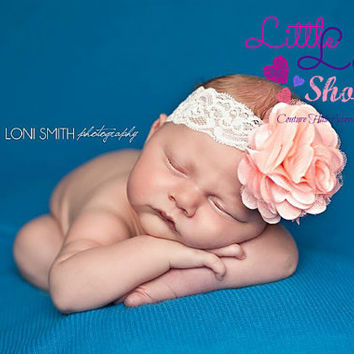 Baby Headband Lace Flower Head band, Baptism christening hair band, newborn girl headband photography props, Canada