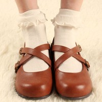 Japanese Kawaii White Lolita Socks With Lace Lovely Women Princess Lace Ruffle Sock Cute Ladies Retro Frilly Socks For Girls