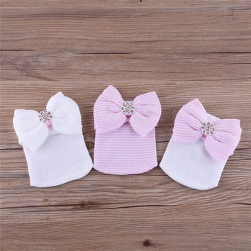 Beautiful Newborn Baby Infant Hospital Caps Cotton Stripped & Studded Bow Beanies for Baby Girl 0-3M