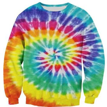 Unisex Fashion Clothing Hoodies Tie Dye Sweatshirt 3D Print Crewneck Spring Hip Hop Women/Men Top Pullover Tumblr Oversize