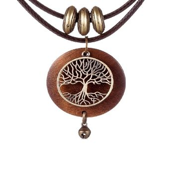 Tree Design Wooden Pendant Long Necklace For Women