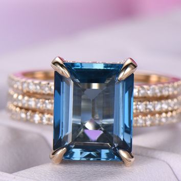 Emerald Cut London Blue Topaz Engagement Ring Pave Diamond Wedding Ring Guard Sets 14k Yellow Gold,8x10mm