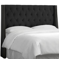 Skyline Tufted Nail Button Wingback Headboard in Velvet Black