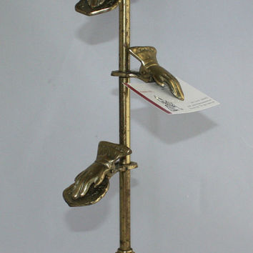 Vintage Victorian Brass Hands Stand Display Business Card Holder Letter Clip Pedestal