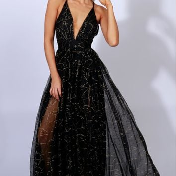 Gown To Party Detailed Maxi Black/Gold