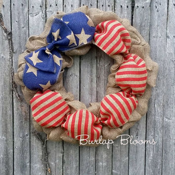 Burlap 4th of July Wreath, Burlap Patriotic Wreath, Memorial Day Wreath, 4th of July Decor, LIMITED QUANTITIES
