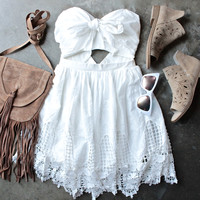 ribbon tie white crochet summer dress