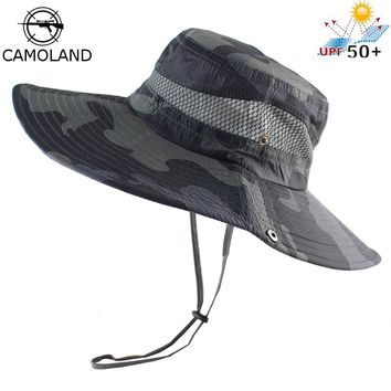 UPF50+ Bucket Hat Men Women Bob Boonie Hat Summer UV Protection Camouflage Cap Military Army Hiking Fishing Hiking Sun Hat Mesh