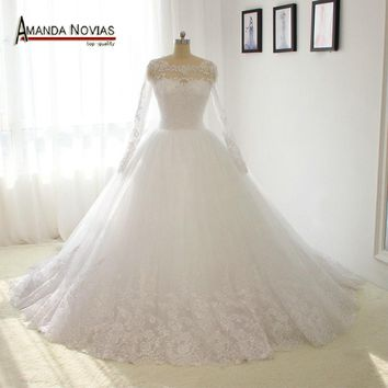 100% Amanda Novias Real Photos Long Sleeves Lace Puffy Ball Gown Wedding Dress 2017