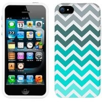 Apple iPhone 5s Chevron Grey Green Turquoise Pattern Phone Firm Case