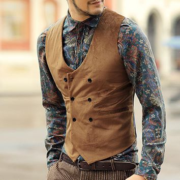 mens double breasted velvet vest men cotton slim casual brand design european style suit vest waistcoat solid