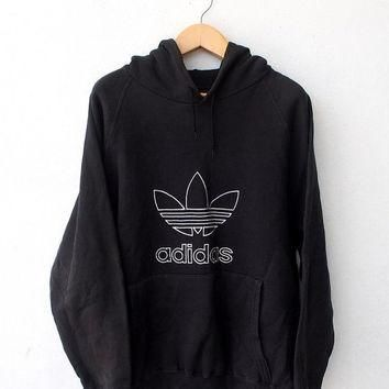 ON SALE 25% ADIDAS Vintage 80's Trefoil Big Logo Run Dmc Hip Hop Rap Hoodie Sweater St