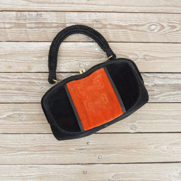 1950s Purse - Vintage 50s Orange & Black Velvet Bow Handbag - Fancy Soiree Purse