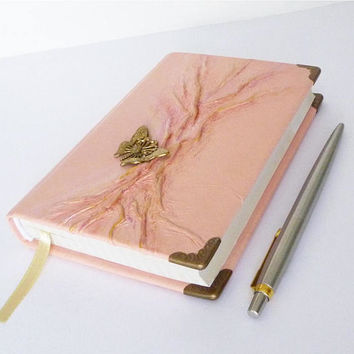 Leather Journal, Pink Diary, Writing Journal, Notebook, Travel Book, Butterfly, Tree of Life, Gift for Graduation, Women, Girl, Leather Art