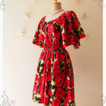 Stunning Red Poppy Floral Dress Vintage Hippie Dress bohemian and hobo style bell sleeve autumn dress Red Autumn Dress - Size S-M