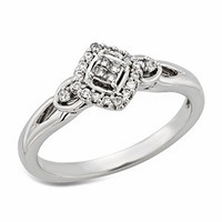 10KT Diamond shaped promise ring with round diamonds .13 Ct. T.W.