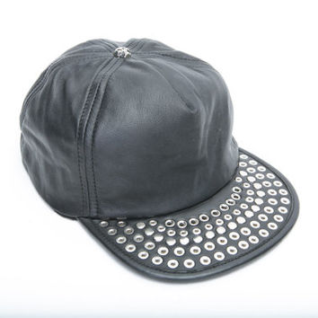 FLIPPED UP leather stud hat