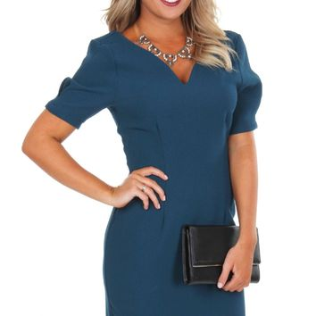 The Key To Success Dress Teal
