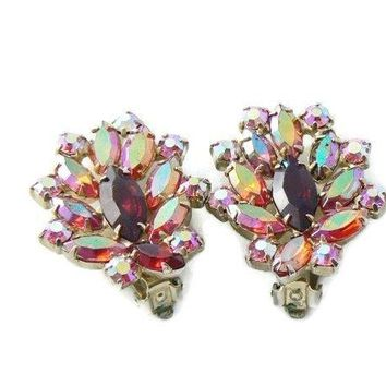 Vintage Signed Garne Red And Pink Ab Rhinestone Earrings