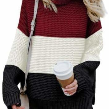 Janette Thick Block Striped Turtleneck Sweater