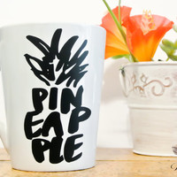 Pineapple Mug - 14oz Coffee Mug - Pineapple Decor - Hand Lettering Decal - Fruit Lover - Cute Coffee Mug - Ceramic Mug - Vinyl Coffee Mug