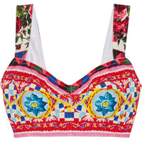Dolce & Gabbana - Printed cotton-blend crepe bra top