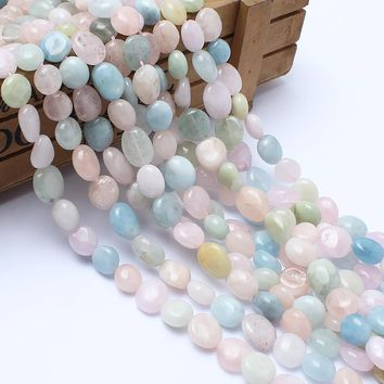Natural Stone Beads 8-10mm Irregular Morganite Stone Beads For Jewelry Making Bracelet Necklace 15inches