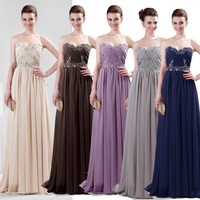 5Colors Beaded Formal Lady Evening Prom Long Dress Bridesmaid Cocktail Ball Gown