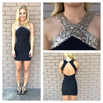 Gold Sequin Cross Over Open Back Dress - Black