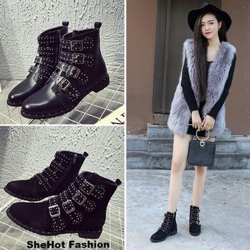 Women Casual Black Studded Buckles Ankle Boots