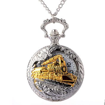 Retro Silver Glamorous Gold Train Carved Hollow Steampunk Quartz Pocket Watch Men's Women's Necklace Pendant Clock High Quality