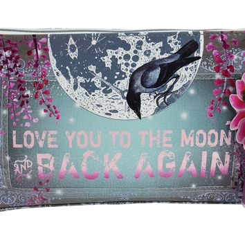 Love You to the Moon Purple Tassel Graphic Art Design Oil Cloth Medium Make-up or Accessory Travel Bag