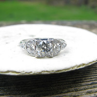 Lovely Art Deco Platinum Diamond Engagement Ring - Fiery Old Mine Cut Diamond - Gorgeous Diamond Studded Shoulders