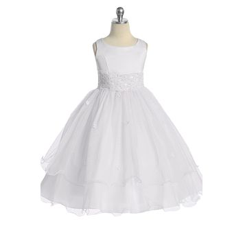 (Sale) Girls Size 2t White Lace Trim Formal Dress w. Tiered Lettuce Tulle
