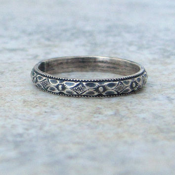 Thin Wedding Ring Silver Floral Wedding Band Antique Silver Stacking Ring